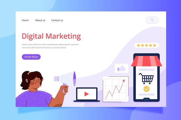Plantilla de página de destino de marketing digital vector gratuito