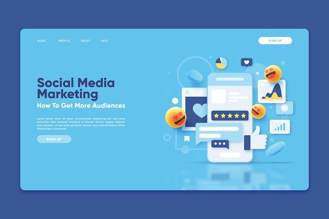 Plantilla de página de destino con marketing en redes sociales