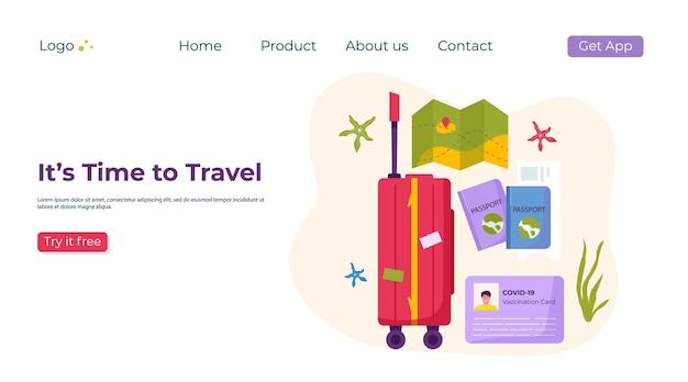 Plantilla de página de destino de material de viaje para turismo de aventura, viajes. viaje de diseño decorativo con conchas, accesorios, maleta, equipaje. vector de moda de dibujos animados plana.