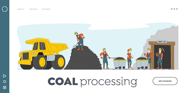 Plantilla de página de destino de minería de carbón