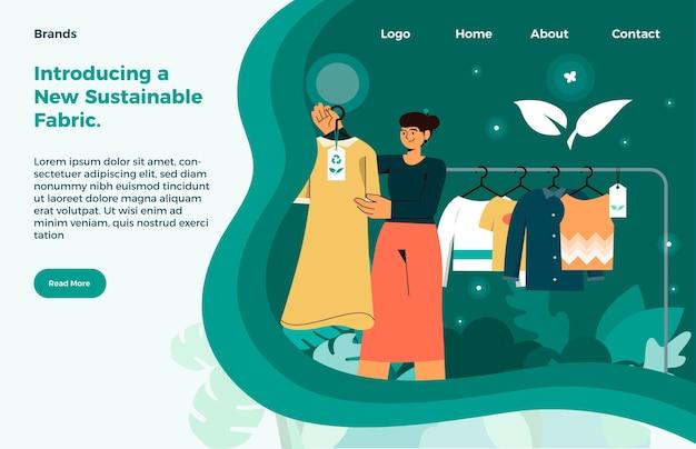 Plantilla de página de destino de moda sostenible dibujada a mano plana