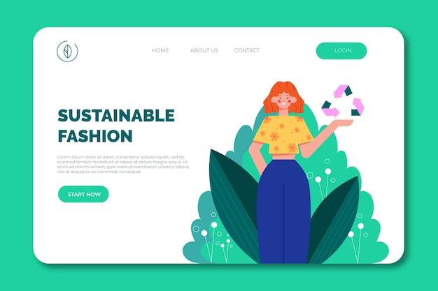 Plantilla de página de destino de moda sostenible