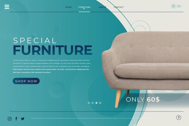 Plantilla de página de destino de muebles