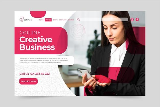 Plantilla de página de destino de mujer de negocios