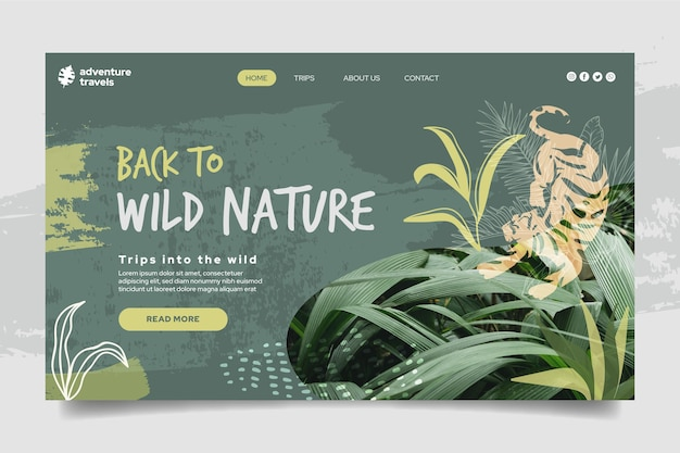 Plantilla de página de destino para naturaleza salvaje con tigre y vegetación.