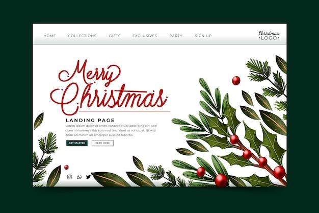 Plantilla de página de destino navideña en acuarela
