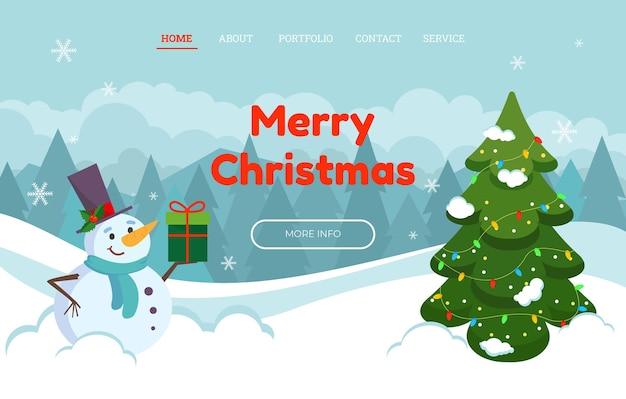 Plantilla de página de destino navideña con amables muñecos de nieve en un sombrero y un regalo. ilustración vectorial.