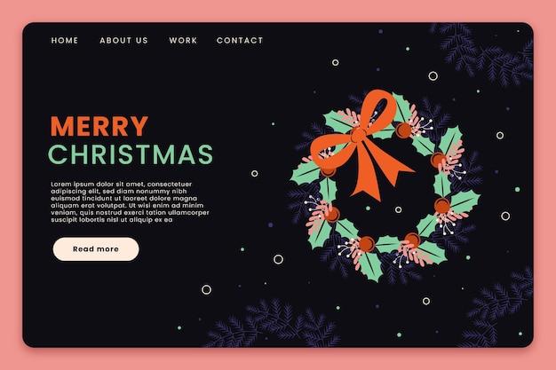 Plantilla de página de destino navideña de diseño plano con ilustraciones