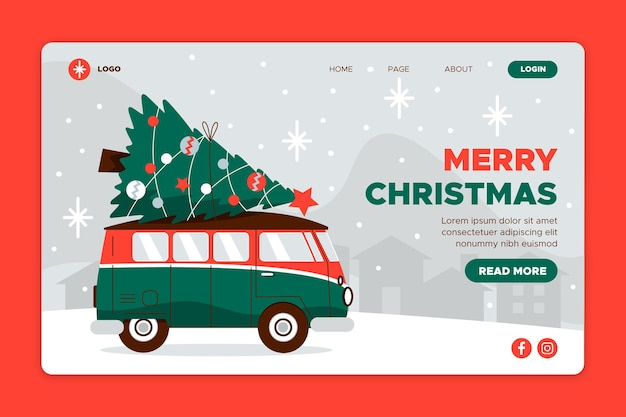 Plantilla de página de destino navideña de diseño plano
