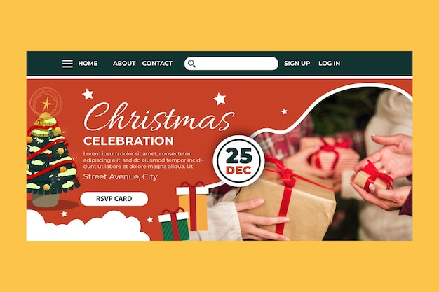 Plantilla de página de destino navideña festiva