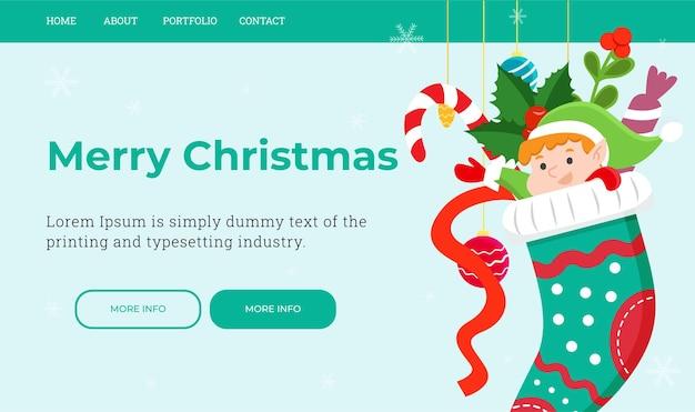 Una plantilla de página de destino navideña con un lindo elfo en un calcetín navideño. ilustración vectorial.