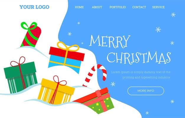 Plantilla de página de destino navideña con muchos regalos. ilustración vectorial.