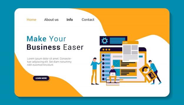 Plantilla de página de destino de negocios, diseño plano