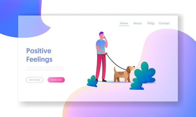 Plantilla de página de destino ocio con cachorro, comunicación con animales