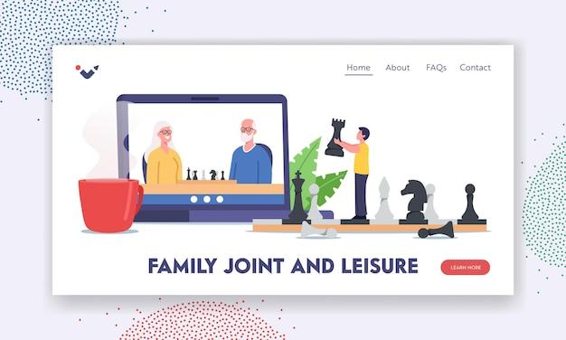 Plantilla de página de destino de ocio y conjunto familiar. personajes abuelos y niños jugando al ajedrez en línea. juego lejano a través de conexión a internet, tiempo libre de familiares. ilustración de vector de gente de dibujos animados