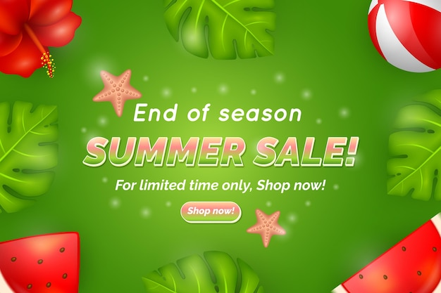 Plantilla de página de destino de ofertas de verano de fin de temporada
