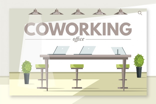 Plantilla de página de destino de oficina de coworking