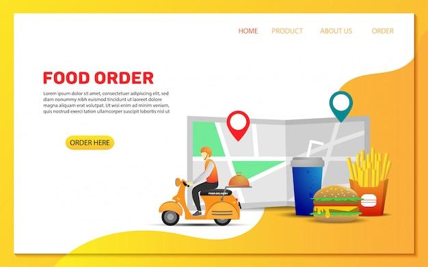 Plantilla de página de destino de orden de entrega de alimentos