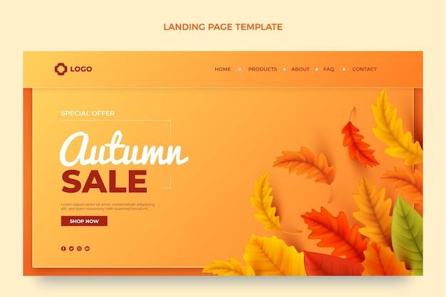 Plantilla de página de destino de otoño realista