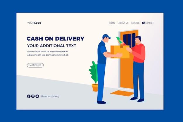 Plantilla de página de destino de pago contra reembolso dibujada a mano