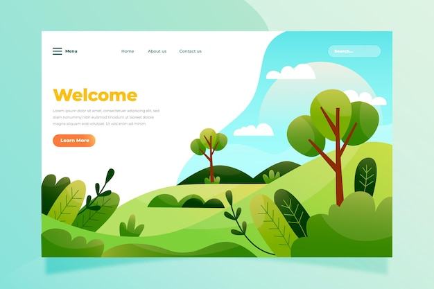Plantilla de página de destino de paisaje natural