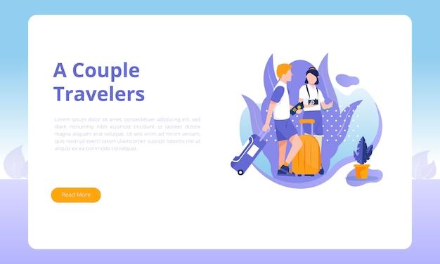 Una plantilla de página de destino para un par de viajeros