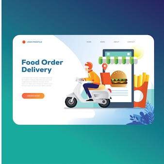 Plantilla de página de destino de pedido de entrega de alimentos