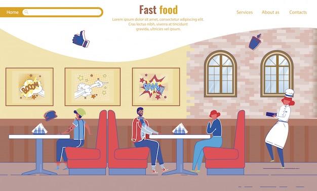 Plantilla de página de destino con personas descansando en fast food cafe