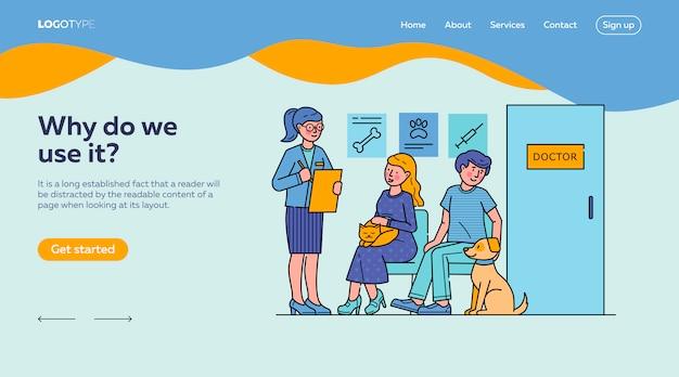 Plantilla de página de destino para personas con mascotas esperando al médico en la cola
