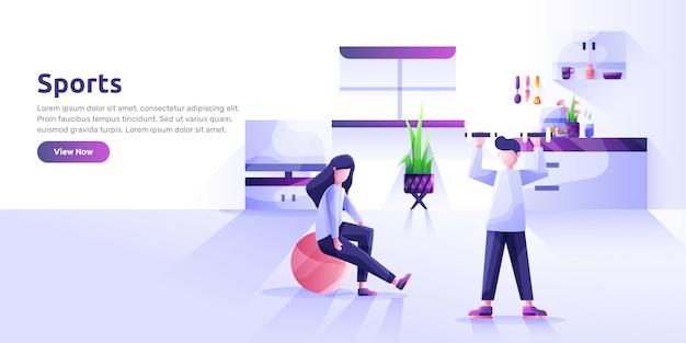 Plantilla de página de destino con personas que realizan actividades deportivas y comida sana. hábitos saludables, estilo de vida activo, fitness, nutrición dietética. ilustración moderna para publicidad.