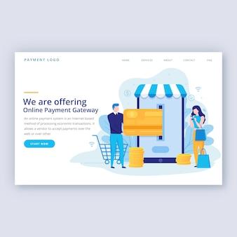 Plantilla de página de destino plana las compras en línea