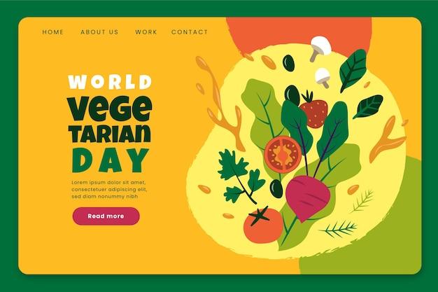 Plantilla de página de destino plana del día mundial del vegetariano