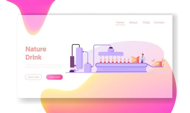 Plantilla de página de destino de planta de fabricación que produce jugo