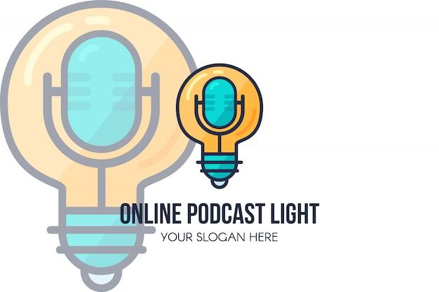 Plantilla de página de destino de podcast en línea. página de inicio del sitio web moderno de música de audio o programa de radio