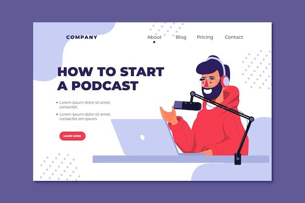 Plantilla de página de destino de podcast