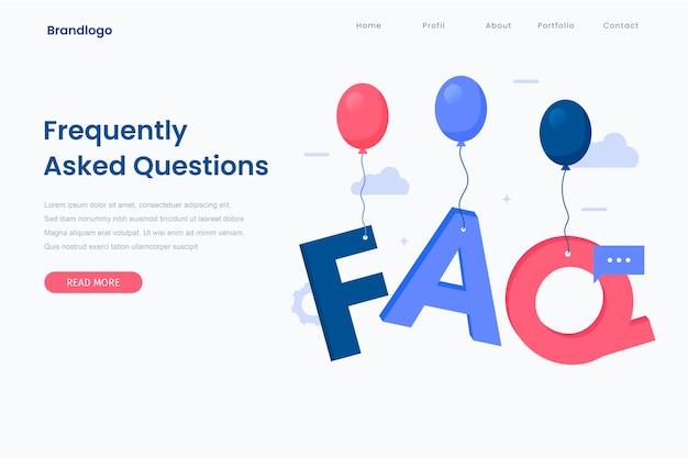 Plantilla de página de destino de preguntas frecuentes corporativas.