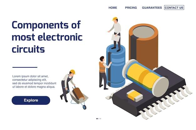 Plantilla de página de destino de producción de semiconductores con componentes de circuitos electrónicos