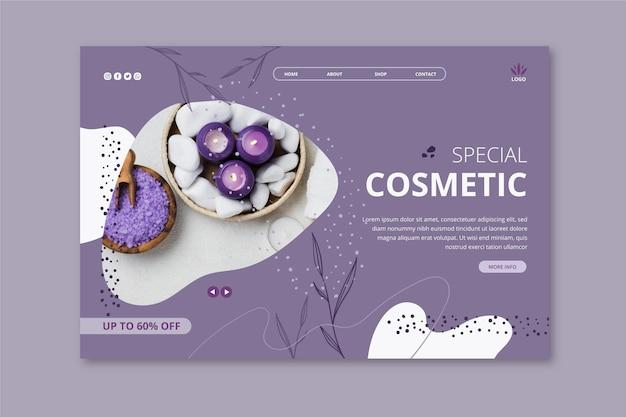 Plantilla de página de destino para productos cosméticos con lavanda.