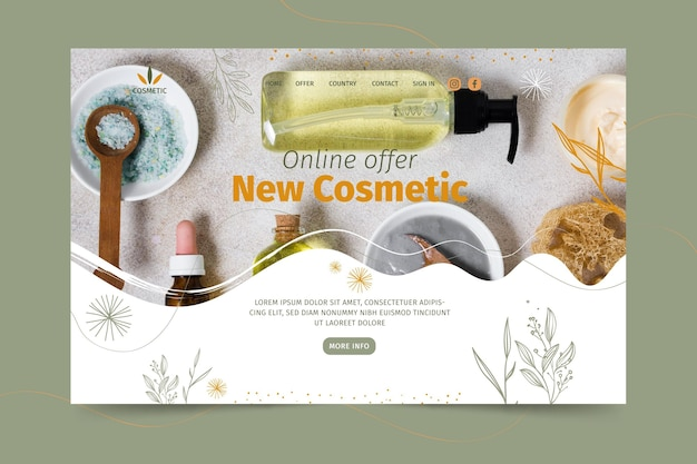 Plantilla de página de destino para productos cosméticos.