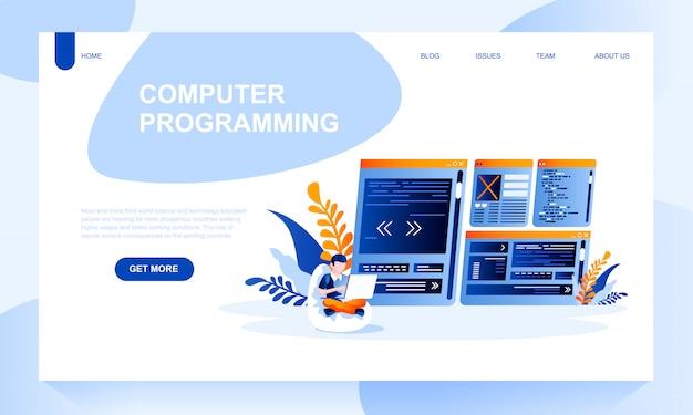 Plantilla de página de destino de programación informática con encabezado