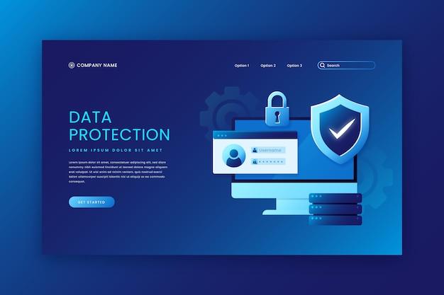Plantilla de página de destino de protección de datos