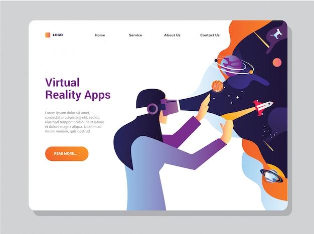 Plantilla de página de destino de realidad virtual para tecnología empresarial