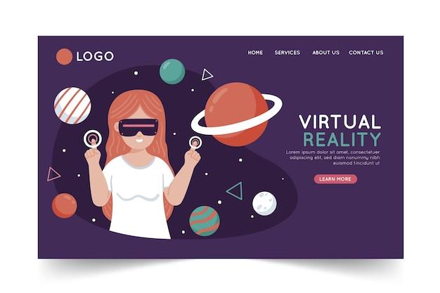 Plantilla de página de destino de realidad virtual