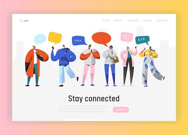 Plantilla de página de destino de red social. grupo de personajes de jóvenes charlando con smartphone para sitio web o página web. concepto de comunicación virtual. ilustración vectorial