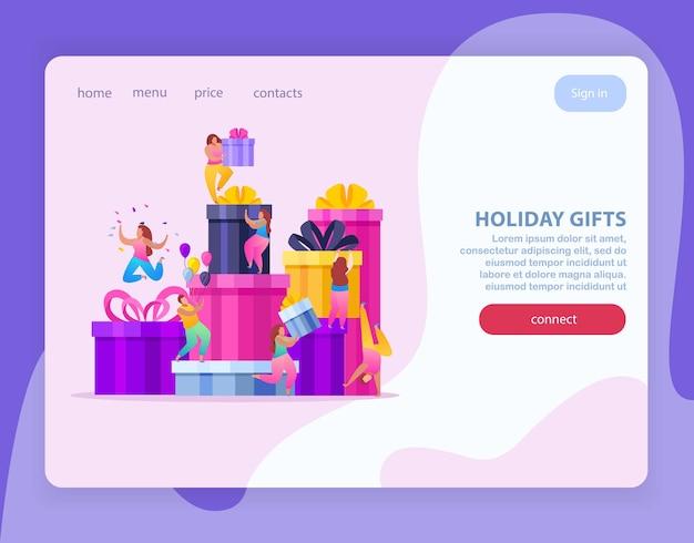 Plantilla de página de destino de regalos navideños