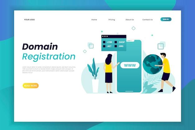Plantilla de página de destino de registro de dominio