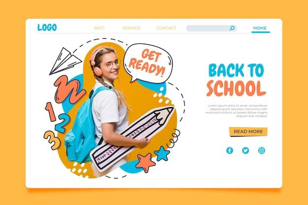 Plantilla de página de destino de regreso a la escuela dibujada a mano con foto