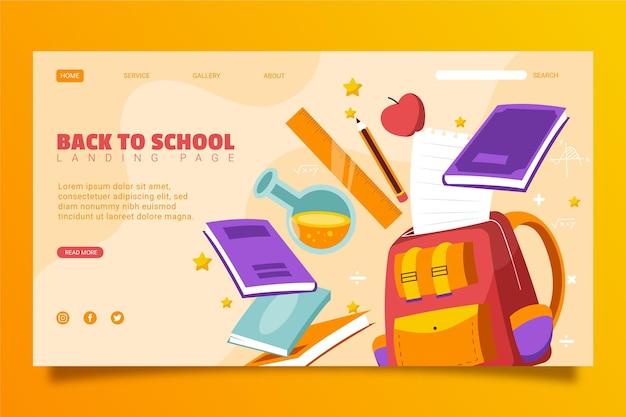 Plantilla de página de destino de regreso a la escuela dibujada a mano