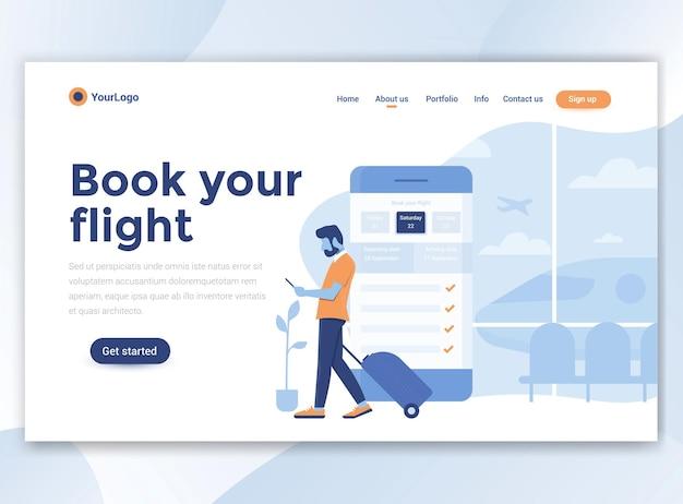 Plantilla de página de destino de reserve su vuelo. diseño plano moderno para sitio web.