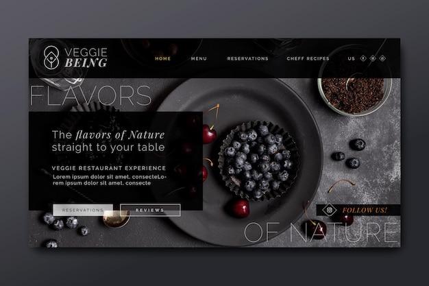 Plantilla de página de destino de restaurante saludable